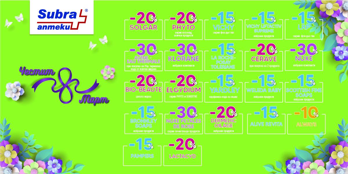 Промо брошура на аптека Subra за месец март