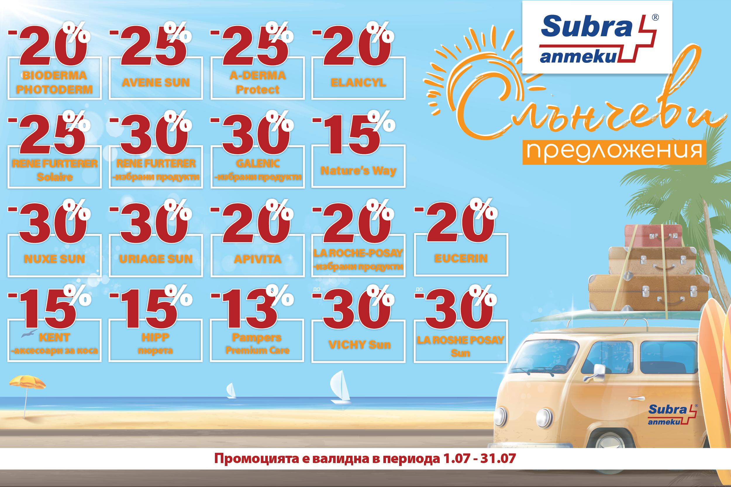 Промо брошура на аптека SUBRA за юли