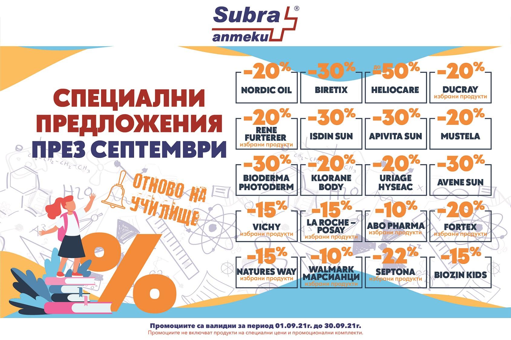 Специални предложения от Аптека Субра